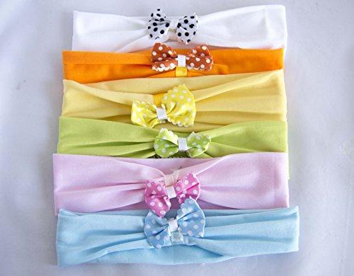 Pack di 6cerchietti con fiocco a pois in colori assortiti. spedizione gratis 72h