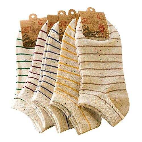 Amorar Damen Streifen Baumwoll Socken Mädchen Sneaker Socken Füßlinge Shallow Mund Socken Unsichtbare Socken,5 Paare Farbe Zufällige,EINWEG Verpackung (Einweg-socken)