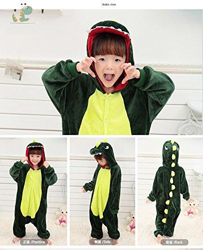 Image of Tonwhar® Children's Halloween Costumes Kids Kigurumi Onesie Animal Cosplay (95(suggest height:105cm-115cm), Green Dinosaur)