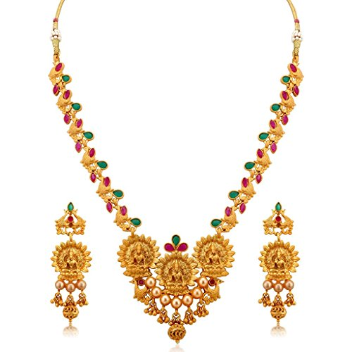 Gemsjewellery South Indian Traditional Jewellery Temple Lakshmi Gold Plated Necklace Set for Women