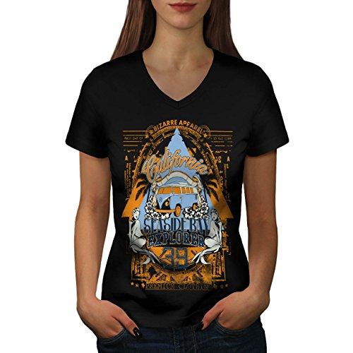 Strand Strand Kalifornien Bucht Kleider Damen S V-Ausschnitt T-shirt | Wellcoda (Hawaii-shirt Bucht)