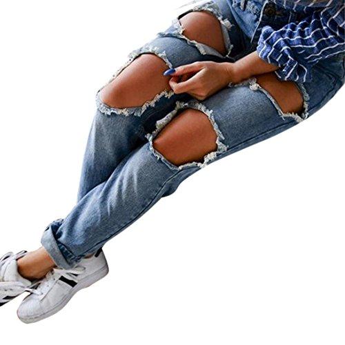 Frauen Casual Denim zerrissen Jeans, Zolimx Damen Mittlere Taille Slim Hose lange Hosen (S, Blau) (Denim Leder Clogs)