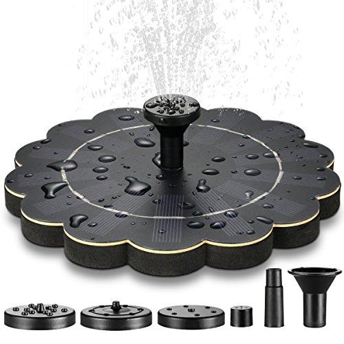 ECHTPower Solar Springbrunnen, Solar Teichpumpe Solarpumpe mit 4 Verschiedene Düsen, Solar Wasserpumpe, Schwimmend Fontäne Pumpe für Gartenteich, Vogel-Bad, Fisch-Behälter, Kleiner Teich