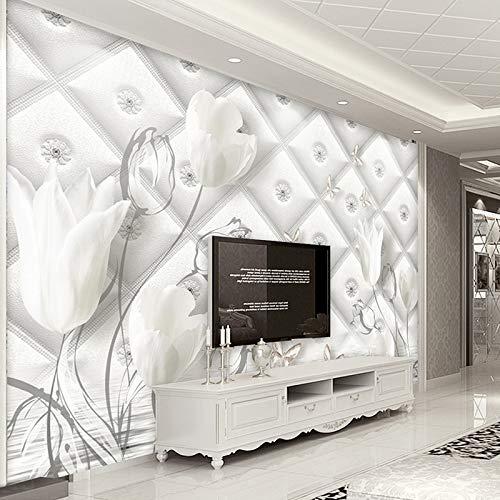 Wallpaper 3D Werbung Benutzerdefinierte 3D Fototapete Modernen Europäischen Stil Weiß Calla Lilie Blume Stereo Weiche Tasche Tv Hintergrund Tapete Wandbild De Parede-280X200Cm (Benutzerdefinierte Gedruckte Taschen)