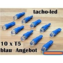 Bombillas LED para tacómetro (10 unidades, 1,2 W, T5, 12 V)