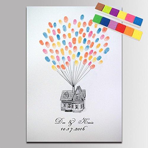 �stebuch Fingerabdruck Signature Gemälde Sweet Home Ballons Hochzeit Party Dekoration DIY Hochzeit Besuch, 14x20inch 35x50cm, SZ163 ()