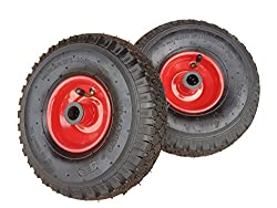 2 x Frosal Luftrad Stahlfelge Rot   Rad Bollerwagen & Sackkarre   Ersatzrad   20 mm Achse   Rollenlager 3.00-4   Sackkarrenrad Set   Kit