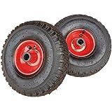 2 x Frosal Luftrad Stahlfelge Rot | Rad Bollerwagen & Sackkarre | Ersatzrad | 20 mm Achse | Rollenlager 3.00-4 | Sackkarrenrad Set | Kit
