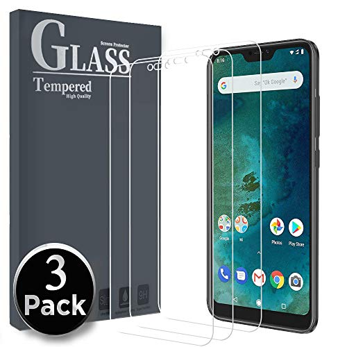 Ferilinso Cristal Templado para Xiaomi Mi A2 Lite, [3 Pack] Protector de Pantalla Screen Protector con garantía de reemplazo de por Vida para Xiaomi Mi A2 Lite