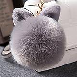 Bluelans® Pom Pom Keyring, Artificial Rabbit Fur Fluffy Keyring Pom Pom Balls Key Ring Cellphone Bag Charm Pendant Keychain (Grey)