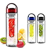 SecretRain 700ml Red Fruit Infusing Water Bottle with Fruit Infuser and Flip Lid Lemon Juice Make Bottle- BPA Free (700ML)