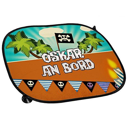 Auto-Sonnenschutz mit Namen Oskar und schönem Piraten-Motiv für Jungs - Auto-Blendschutz - Sonnenblende - Sichtschutz