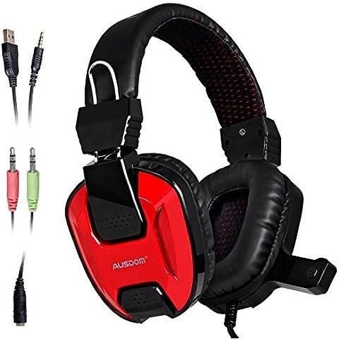 AUSDOM agh15con cable trenzado de cómodo Gaming Headset Auriculares de Oído estéreo con micrófono luz LED para PC/PS4/funda para móvil con divisor Cable de audio negro