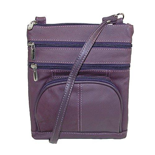 CTM Frauen Mehrere Taschen Leder Umhängetasche Violett