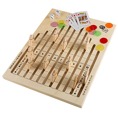 Hey!Play! 80-DDH Wooden Horse Race Strategy Board Game