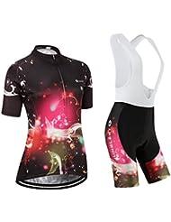 Maillot de Cyclisme Femme Manches Courtes jersey(S~5XL,option:Cuissard,3D Coussin) N245