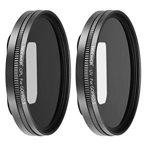 Galleria fotografica Neewer multirivestito filtro kit per GoPro Hero 5, con filtro UV, CPL, lente e 2tappi; realizzato in lega di alluminio telaio e vetro ottico HD