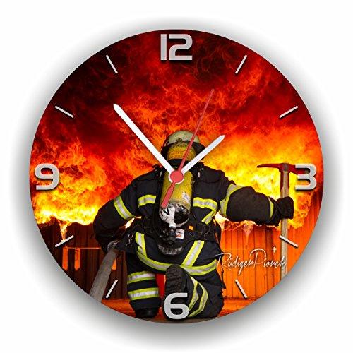 feuerwehr wanduhr Roter Hahn 112 Hochwertige Feuerwehr Wanduhr Uhr BACKDRAFT/Rüdiger Piorek Edition/25cm/Geräucharm