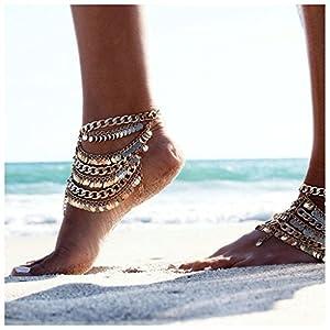 Bishiling Fußschmuck Boho Fußkette Zehenkette Knöchelkette Panzerkette Goldkette Strand Kette Gold für Frauen