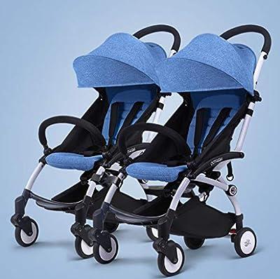 BABY CARRIAGE ZLMI Twin bebé Cochecito Ligero Plegable portátil Plegable Cesta BB Coche Puede Sentarse/reclinar de Dos vías Ajustable para 0-3 años de Edad,Blue#1