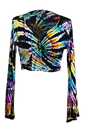 f90723b257edd Tie Dye Crop Top Wrap Colourful Long Flare Sleeve Festival Hippie Front  Back Tied Cropped Top
