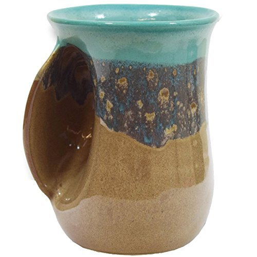 Clay in Motion - Tazza scaldamani apertura a sinistra 14 Ounce Left Isola Oasis