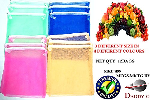 Daddy Gtm (Pack Of 12) Multi-Purpose Vegetables Fruits Mesh Fridge Storage Washable Zip Bags