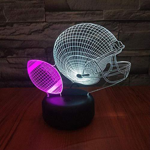 Rugby Helm 3d Vision Nachtlicht Kreative Bunte Touch Lade Moderne Schreibtischlampe Led Stereo Geschenk Beleuchtung Tischlampe