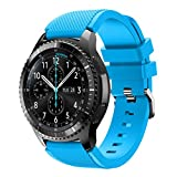iHee Bracelet de rechange souple en silicone pour montre Samsung Gear S3 Frontier M bleu ciel