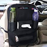 AllExtreme EXCOWPB PU Leather Car Auto Seat Back Multi Pocket Organizer Universal Backseat Travel Bag for Tissue Box, Bottle and Document Storage (Black)