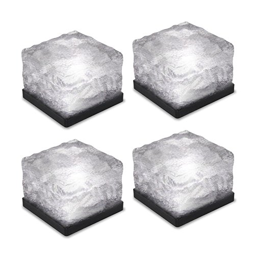Loveusexy Solar Garden Light wasserdichte LED begraben Lights Ice Cube Glas Steine Rock Lampe für Outdoor pewter Garten Yard Pack of 4PCS & Blue