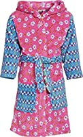 Playshoes Girl's Hooded Fleece Flowers Bathrobe, Pink (Original), 6-9 Months (Manufacturer Size:74/80)