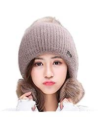 Gorro de Punto para Mujer Gorro de Punto Bobble Pom Poms Orejeras Calientes  de Invierno Engrosamiento Nuevo Sombreros de Invierno de… 36b8348b075