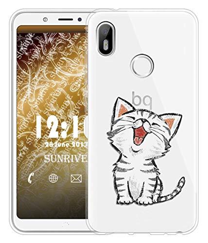 Sunrive Für BQ Aquaris C Hülle Silikon, Transparent Handyhülle Schutzhülle Etui Case für BQ Aquaris C(TPU Katze 2)+Gratis Universal Eingabestift