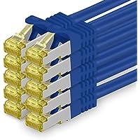 Cat.7 Netzwerkkabel 3m - Blau - 10 Stück - Cat7 Ethernetkabel Netzwerk Lan Kabel Rohkabel 10 Gb/s (Sftp Pimf) Set Patchkabel mit Rj 45 Stecker Cat.6a