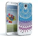 Samsung Galaxy S4 / S4 Neo Schutzhülle Silikon Mandala Design I von EAZY CASE I Slimcover Henna, Handyhülle, TPU Hülle / Soft Case, Silikonhülle, Backcover, indische Sonne, transparent, Blau/Pink