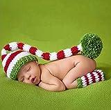 Baby Kostüm Fotoshooting Fotos Weihnachten Bommel Mütze+ Strümpfe Gestreift