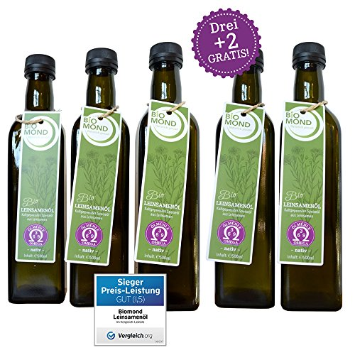 BIO Leinsamenöl Leinöl von BIOMOND / 500 ml / AKTION 3 plus 2 / 2 Flaschen Gratis / TESTSIEGER / nativ / Speiseöl