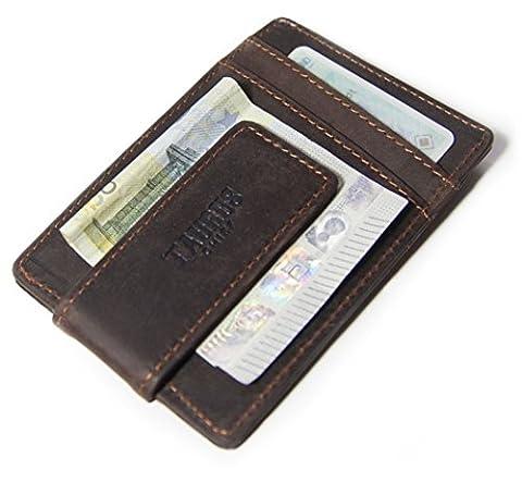 TOP organisiert mit dem echt Leder Kreditkartenetui mit Geldscheinklammer - klein, kompakt & edel für (12 Jack Daniels Carbone)