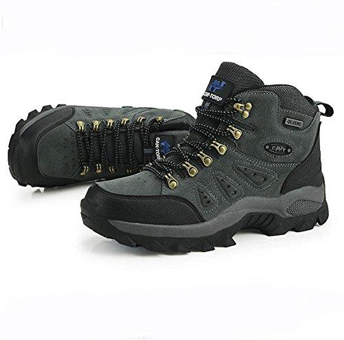 Suetar Scarpe da Escursionismo in Pelle Scamosciata da Uomo Autunno e Inverno Scarpe da Trekking Impermeabili Antiscivolo Leggero Caldo Gray