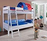 Froschkönig24 Etagenbett Stefan Hochbett Stockbett Kinderzimmer Weiß Stoffset Blau/Rot, Matratzen Oben/unten:ohne