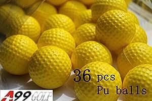 36pièces Jaune en mousse PU Golf Ball Vol limitée Balles de practice de golf Formation sida