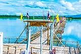 Poster-Bild 140 x 90 cm: 'Bamboo bridge on the lake at Phayao province, Thailand', Bild auf Poster
