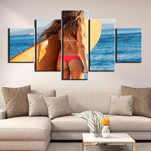 Zum Aufhängen bereit - Modulare Bild Leinwand Wandkunst Modernen Rahmen Für Wohnzimmer Dekor 5 Panel Surfen Malerei HD Print - Bild auf Leinwand fünfteilig (Surfen Galerie)