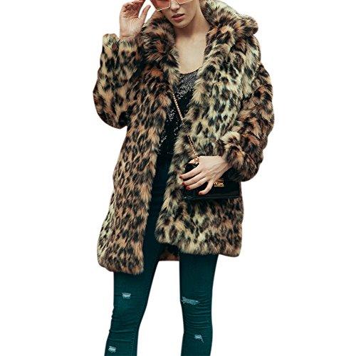 Ibaste leopardato lunga cappotto maniche lunghe giacca pelliccia sintetica donna di moda autunno e inverno