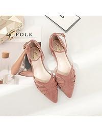Xue Qiqi Punta Plana ranurado Calzado Hebilla Baotou luz-Hollow Plana con Solo Zapatos Zapatos de Mujer Sandalias...