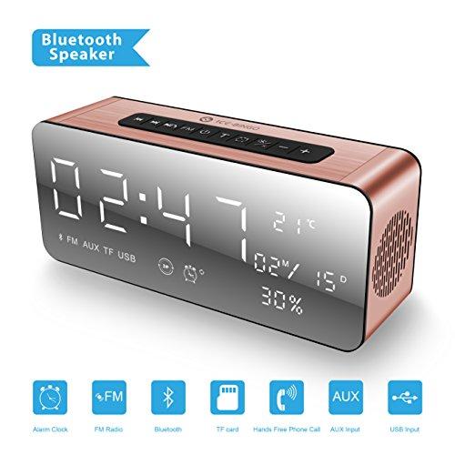 Ice de Bingo Bluetooth Altavoz Despertador Radio para iPhone Echo Android Rosa
