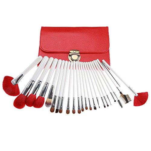 cheveux fibre premium 24 pcs meilleur maquillage brosses fondation manche en bois synthétique fard à paupières avec des cas