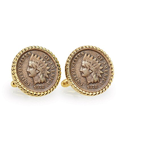 American Coin Treasures 1800's Indian Head Penny goldfarbenes Seil Lünette Manschette Links
