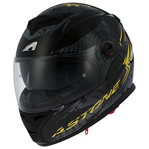 Astone Helmets gt800-spider-ybxs casco Moto Integral GT 800, amarillo/negro, talla XS